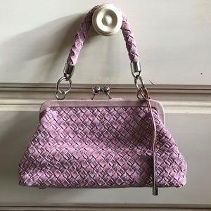 Elliot Lucca pink suede basket weave bag